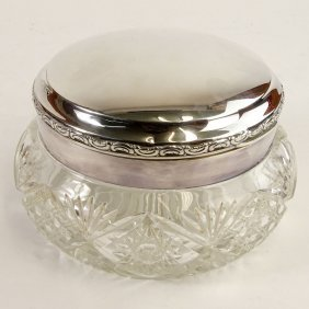 Large Antique German 800 Silver And Crystal Covered