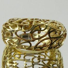 Lady's Delicate 14 Karat Yellow Gold Filigree Ring.