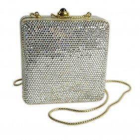 Judith Leiber Jeweled Square Minaudiere Evening Bag.