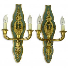 Pair 20th Century Empire Style Italian Bronze And