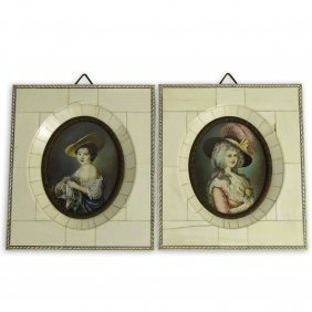 Pair Of Antique German Hand Painted Ivory Miniature