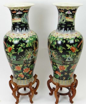 Large Pair Of Chinese Famille Noir Baluster Vases With