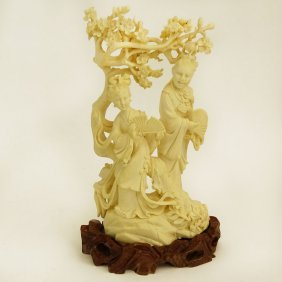 Mid 20th Century Chinese Carved Ivory Group, Maidens
