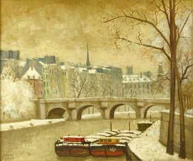 André Renoux, French (born 1939) Oil On Canvas, Pont