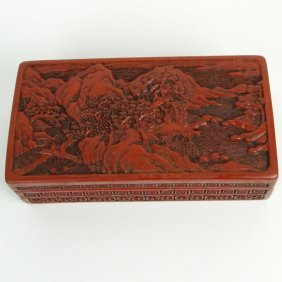 Antique Chinese Lacquer Cinnabar Box. Finely Carved