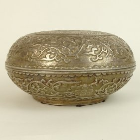 Vintage Large Chinese Round Covered Box. Unusual