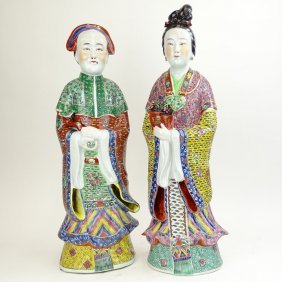 Pair Of Large Chinese Republic Multicolored Enamel