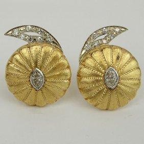 Pair Of Vintage 14 Karat Yellow Gold Button Style