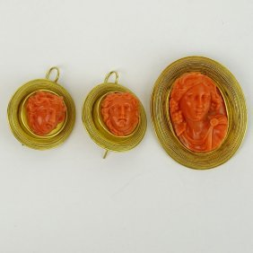 19th Century Carved Red Coral And High Karat Yellow