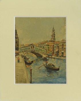 """19th Century Italian School Watercolor """"rialto Bridge,"""
