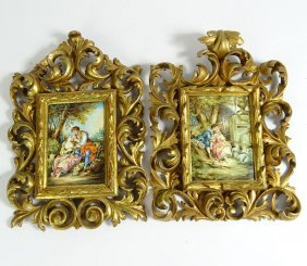 Pair Of Vintage Paintings On Copper In Florentine