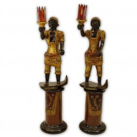 Pair Of Early To Mid 20th Century Venetian Style Carved