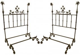 Pair 19th Century Italian Heavy Wrought Iron Bed