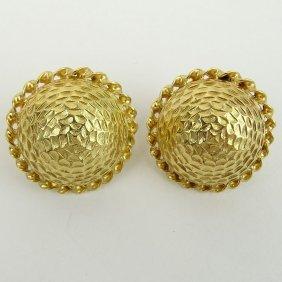 Vintage 14 Karat Yellow Gold Button Style Earrings.