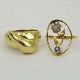Two (2) Vintage 14 Karat Yellow Gold Rings, One Set