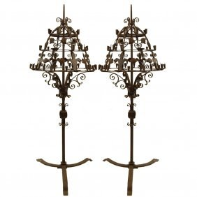Pair Of Large And Heavy 18th Century Wrought Iron