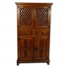 19th Century Italian Pine Kitchen Cabinet With Iron