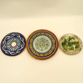 Collection Of Three (3) Majolica Chargers. Various