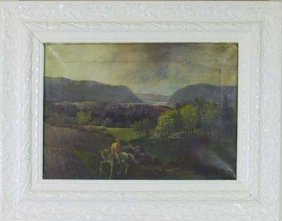 19th C.O/C Hudson River Painting Signed T. Hoven.