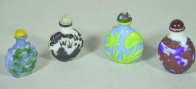 4 Vintage Chinese Peking Glass Snuff Bottles