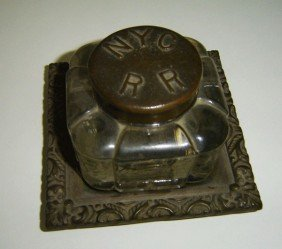 Rare NYC Railroad Iron And Glass Inkwell