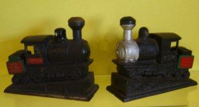 2 Iron Locomotive Bookends, Paperweights
