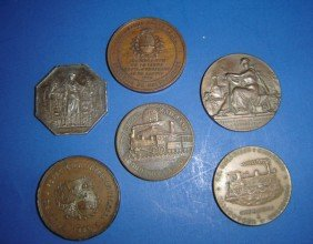 6 Antique Railroad Coins
