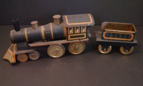 Vintage Tin Toy Locomotive And Tender
