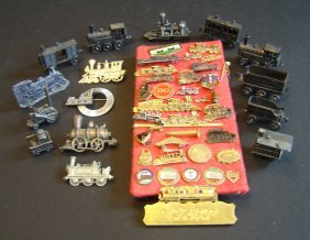 Lot Of Antique Pins And Miniature Locomotives