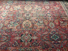 Vintage Hand Made Room Size Heriz Carpet