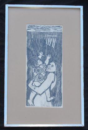 Signed Donawa Woodcut Of A Woman & A Child