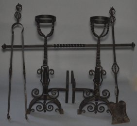 Pr Of Arts & Crafts Dragon Wrought Iron Andirons