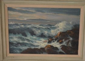 Signed Ron Goyette Painting Of A Rocky Seashore
