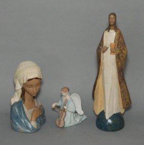 3 Lladros Figurines (jesus, Angel & Virgin Mary)