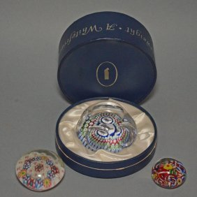Lot Of 3 Millefiori Paperweights Inc White Friars