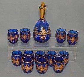 13 Piece Gold Painted Murano Tea Glass Decanter Set