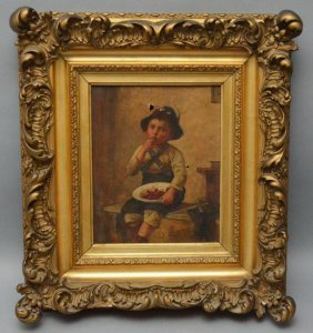 Edmund Adler O/c Painting Of German/austrian Boy