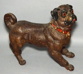 Antique Painted Terracotta Bull Dog Statue