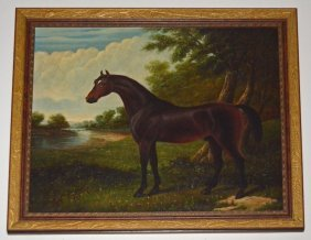 British O/c Painting Of An Equestrian Horse