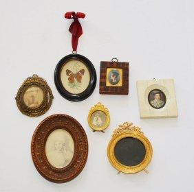 Lot Of Vintage & Antique Miniature Pictures & Frames