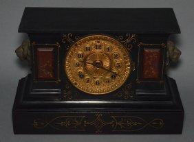 Handsome Ansonia Lion Head Mantle Clock