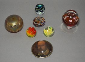 Lot Of Art Glass Paperweights (pairpoint, Kosta)