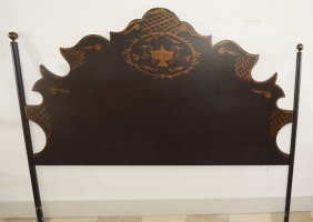 Decorative Tole Painted Metal Headboard
