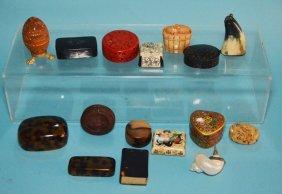 Misc Dealer's Lot Of 12 Boxes & Antique Accessories