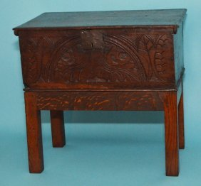 Early English Carved Chest On Stand