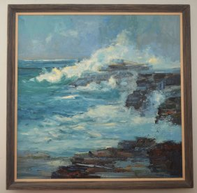 Oil Painting Of A Rocky Ocean Shore By John Chin Young