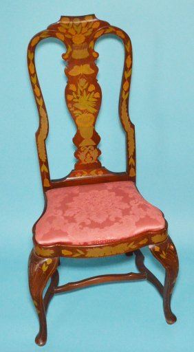 Pair Of Painted Marquetry Style Chairs