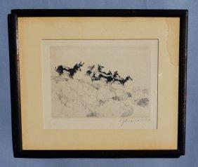 "Original Carl Rungius Signed Artist Proof ""antelopes"""