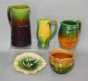 5 Antique Majolica Pottery Pieces (pitchers, Corn,
