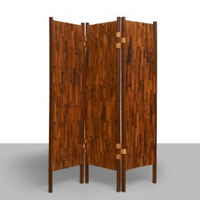 Pair Of Brazilian Rosewood 3-panel Screens